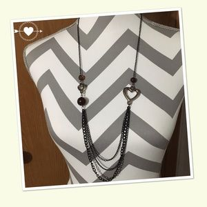 Long Fashion Necklace with hearts ♥️ NWT